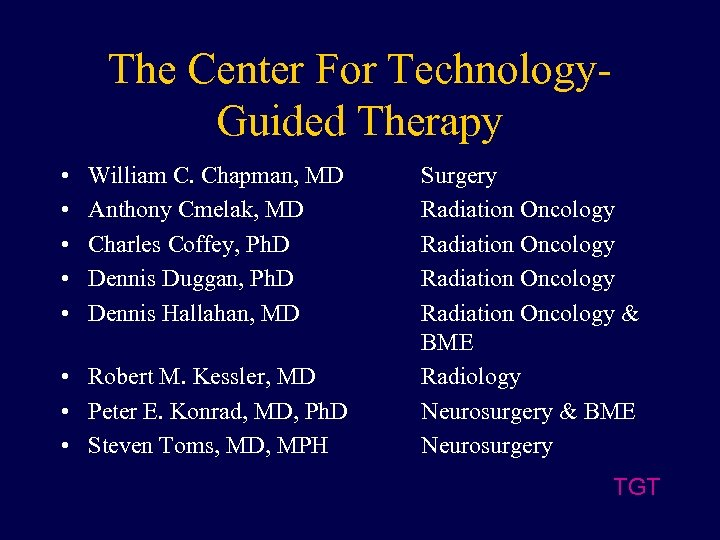 The Center For Technology. Guided Therapy • • • William C. Chapman, MD Anthony