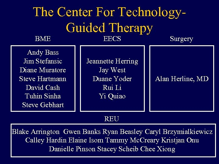 The Center For Technology. Guided Therapy BME EECS Surgery Andy Bass Jim Stefansic Diane