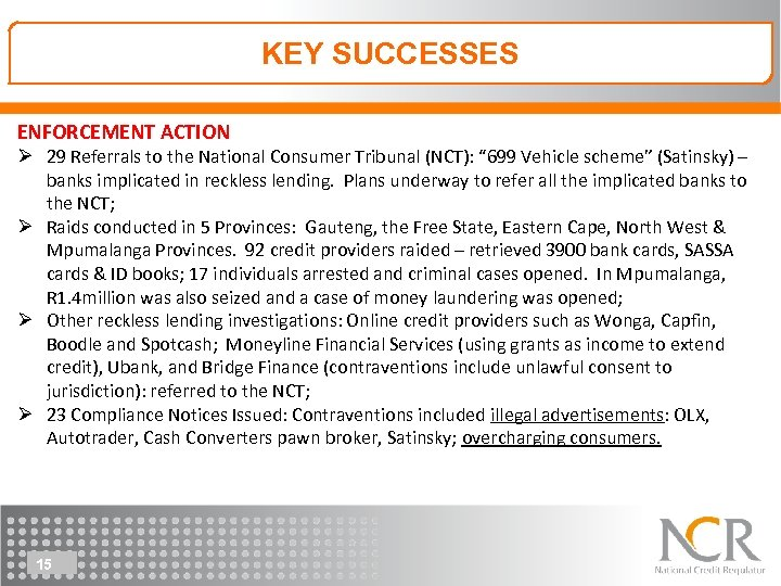 KEY SUCCESSES KEY & CHALLENGES 2014/15 ENFORCEMENT ACTION Ø 29 Referrals to the National