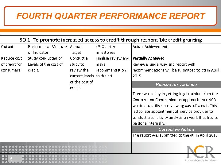 FOURTH QUARTER PERFORMANCE REPORT SO 1: To promote increased access to credit through responsible