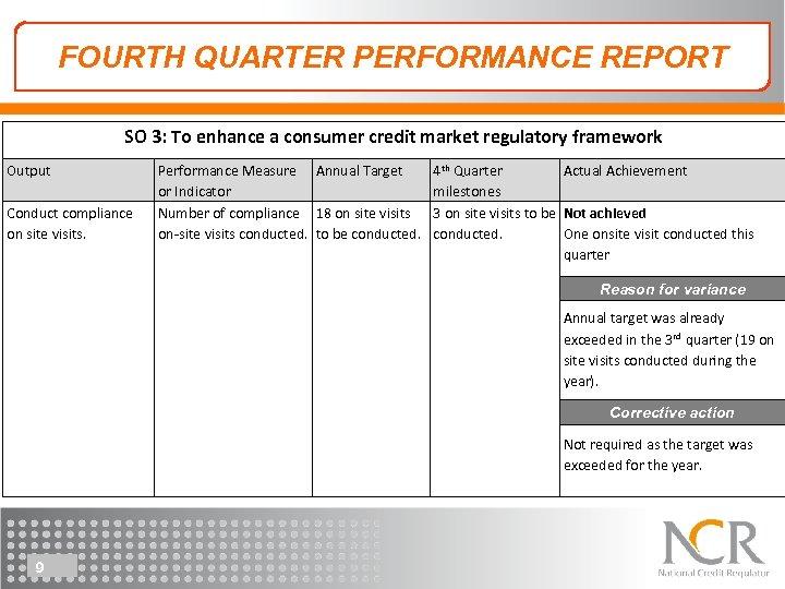 FOURTH QUARTER PERFORMANCE REPORT SO 3: To enhance a consumer credit market regulatory framework
