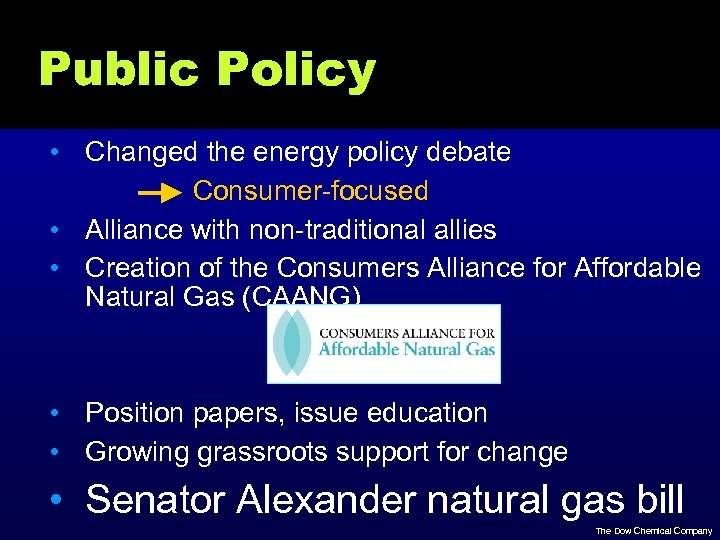 Public Policy • Changed the energy policy debate Consumer-focused • Alliance with non-traditional allies