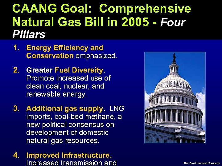 CAANG Goal: Comprehensive Natural Gas Bill in 2005 - Four Pillars 1. Energy Efficiency