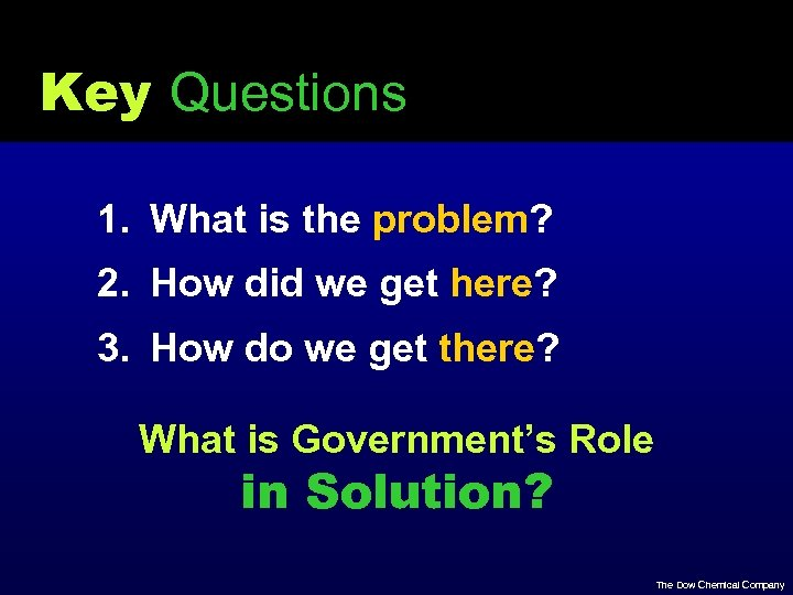Key Questions 1. What is the problem? 2. How did we get here? 3.