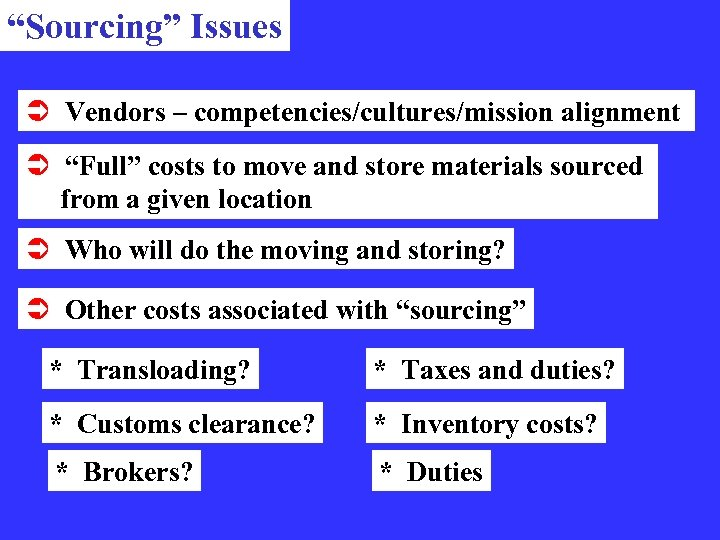 """""""Sourcing"""" Issues Ü Vendors – competencies/cultures/mission alignment Ü """"Full"""" costs to move and store"""