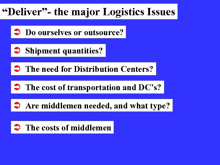 """""""Deliver""""- the major Logistics Issues Ü Do ourselves or outsource? Ü Shipment quantities? Ü"""