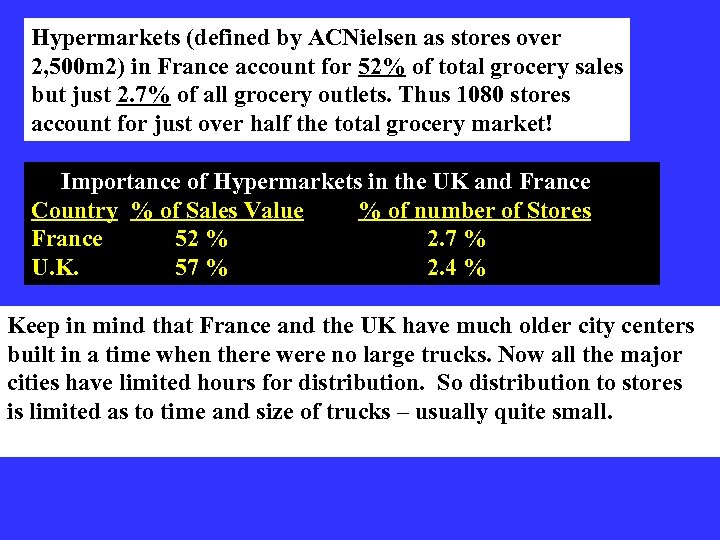 Hypermarkets (defined by ACNielsen as stores over 2, 500 m 2) in France account