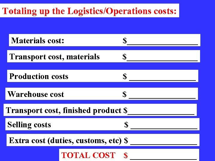 Totaling up the Logistics/Operations costs: Materials cost: $_________ Transport cost, materials $_________ Production costs