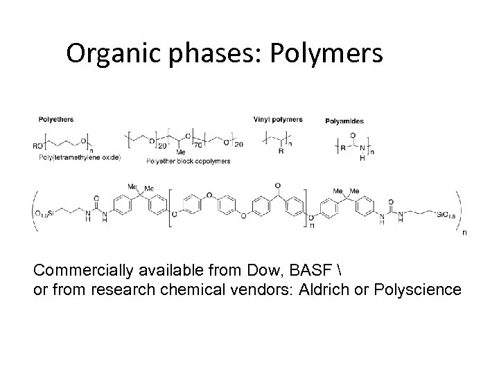 Organic phases: Polymers Commercially available from Dow, BASF  or from research chemical vendors: