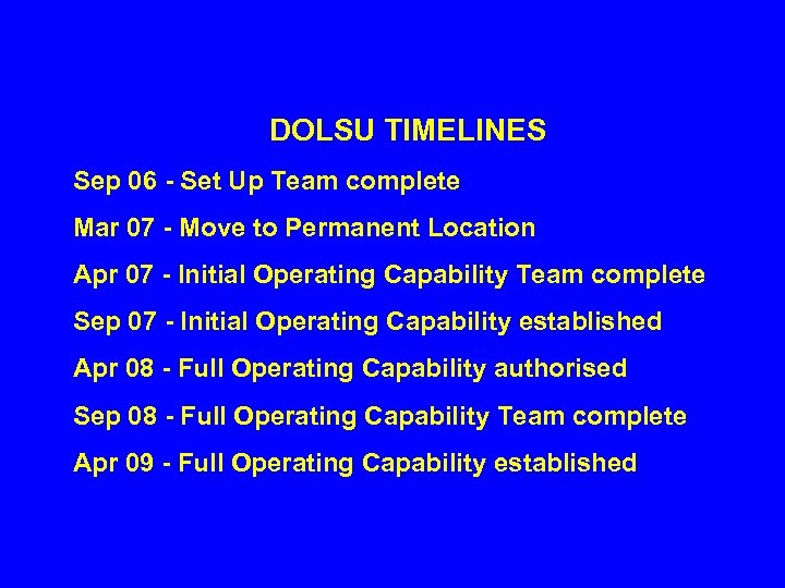 DOLSU TIMELINES Sep 06 - Set Up Team complete Mar 07 - Move to