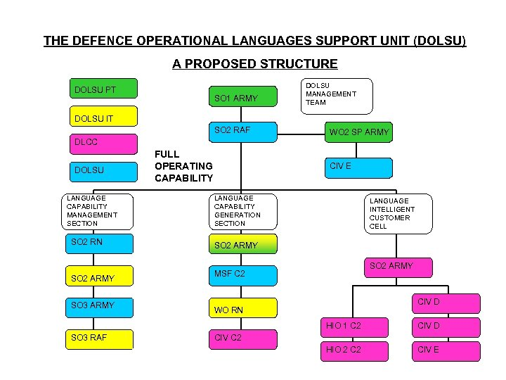 THE DEFENCE OPERATIONAL LANGUAGES SUPPORT UNIT (DOLSU) A PROPOSED STRUCTURE DOLSU PT SO 1
