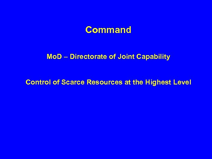 Command Mo. D – Directorate of Joint Capability Control of Scarce Resources at the