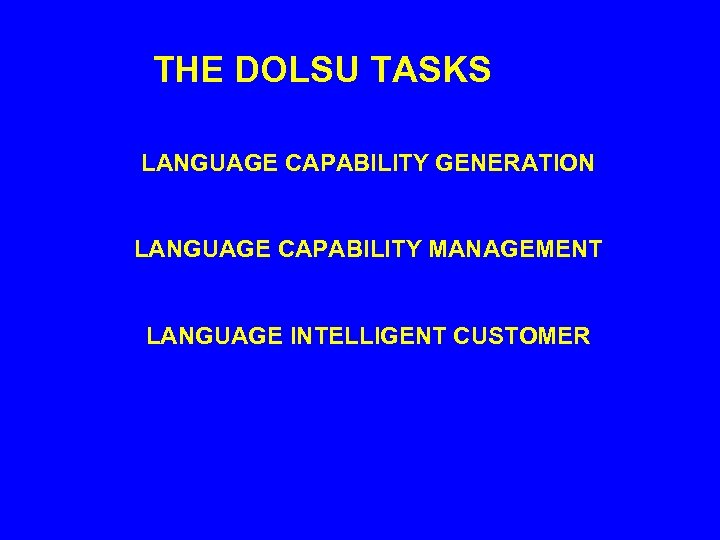 THE DOLSU TASKS LANGUAGE CAPABILITY GENERATION LANGUAGE CAPABILITY MANAGEMENT LANGUAGE INTELLIGENT CUSTOMER