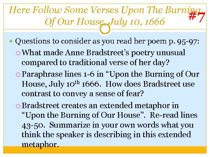 Here Follow Some Verses Upon The Burning #7 Of Our House, July 10, 1666