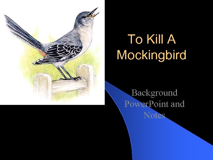 To Kill A Mockingbird Background Power. Point and Notes