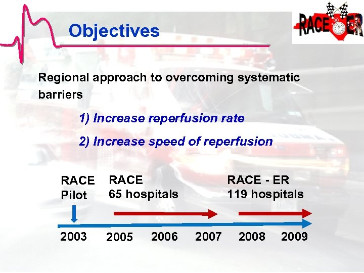 Objectives Regional approach to overcoming systematic barriers 1) Increase reperfusion rate 2) Increase speed