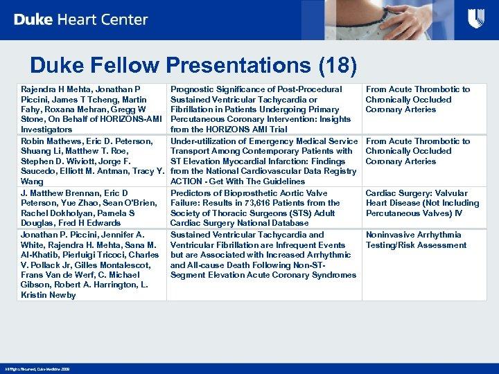Duke Fellow Presentations (18) Rajendra H Mehta, Jonathan P Piccini, James T Tcheng, Martin