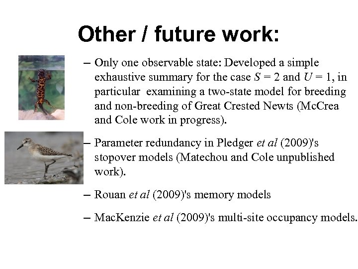 Other / future work: – Only one observable state: Developed a simple exhaustive summary