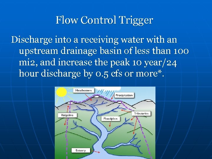 Flow Control Trigger Discharge into a receiving water with an upstream drainage basin of