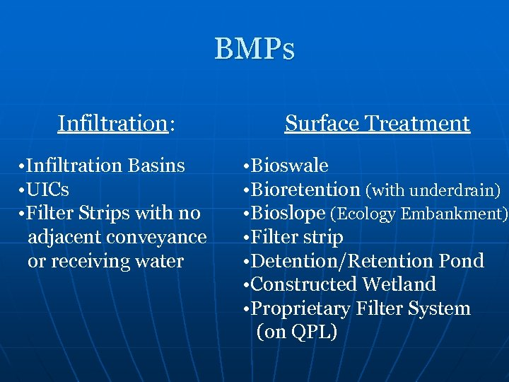 BMPs Infiltration: Surface Treatment • Infiltration Basins • UICs • Filter Strips with no