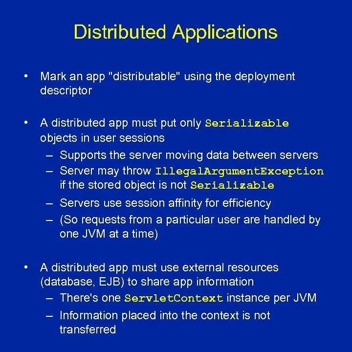 Distributed Applications • Mark an app