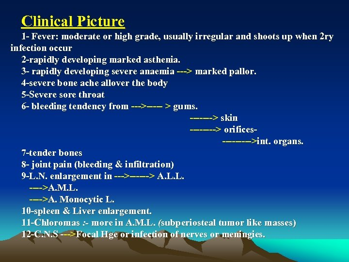 Clinical Picture 1 Fever: moderate or high grade, usually irregular and shoots up when