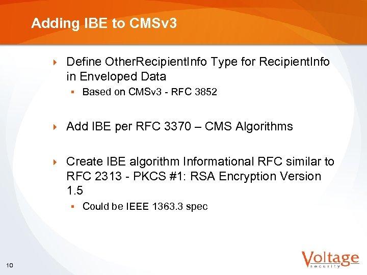 Adding IBE to CMSv 3 } Define Other. Recipient. Info Type for Recipient. Info