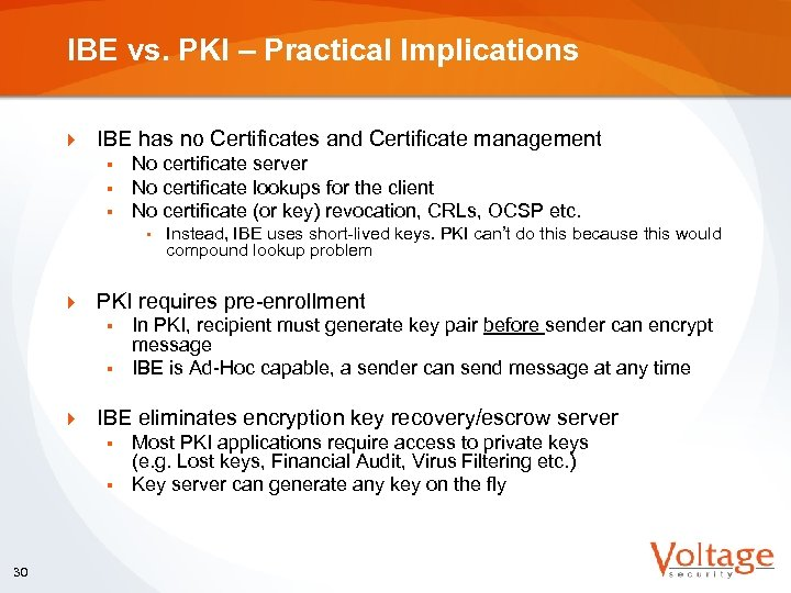 IBE vs. PKI – Practical Implications } IBE has no Certificates and Certificate management