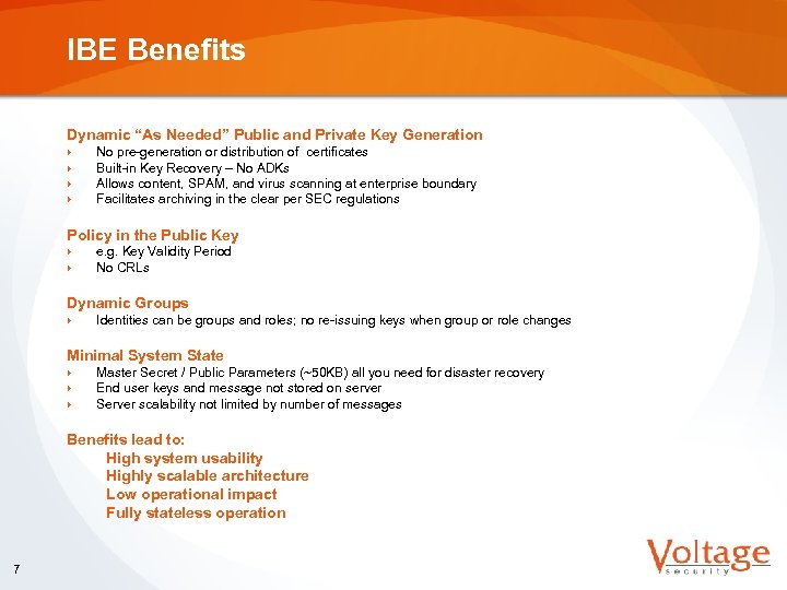 """IBE Benefits Dynamic """"As Needed"""" Public and Private Key Generation } } No pre-generation"""