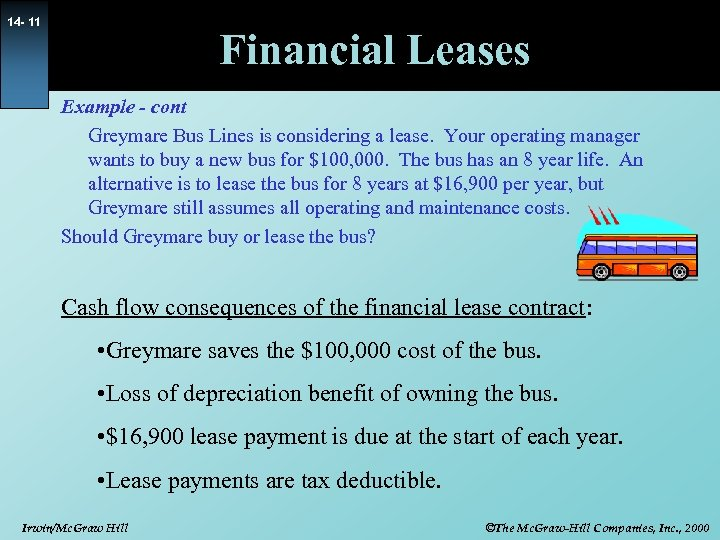 14 - 11 Financial Leases Example - cont Greymare Bus Lines is considering a