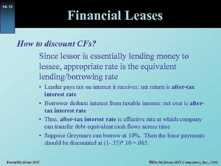 14 - 13 Financial Leases How to discount CFs? Since lessor is essentially lending