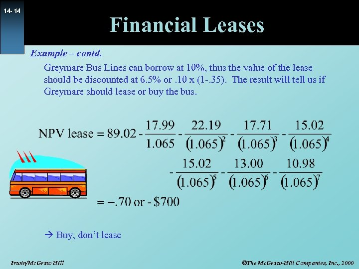 14 - 14 Financial Leases Example – contd. Greymare Bus Lines can borrow at