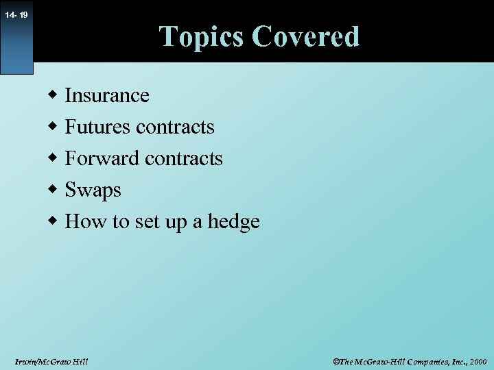 14 - 19 Topics Covered w Insurance w Futures contracts w Forward contracts w