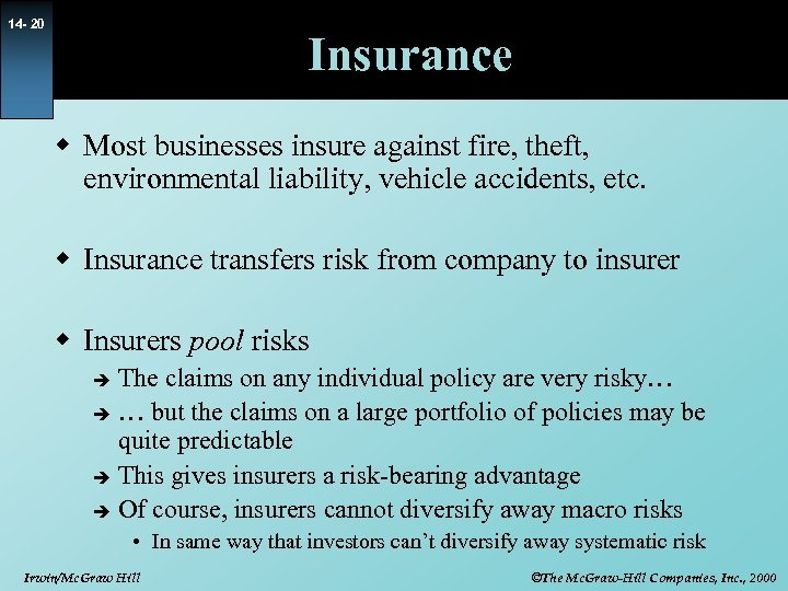 14 - 20 Insurance w Most businesses insure against fire, theft, environmental liability, vehicle