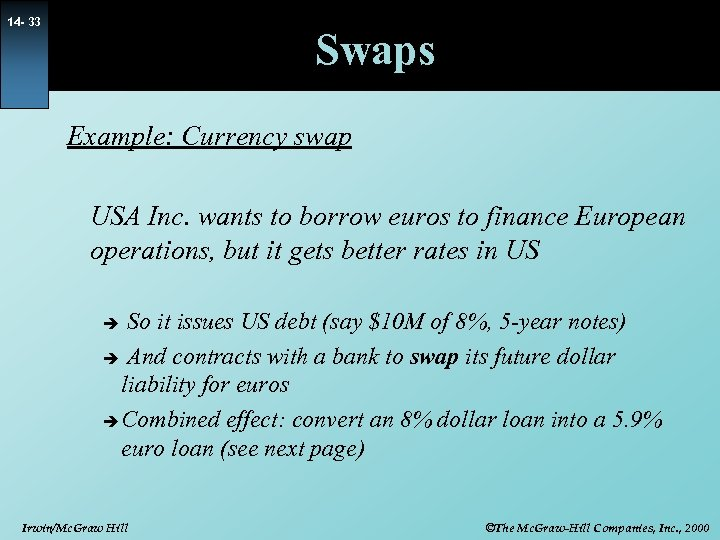 14 - 33 Swaps Example: Currency swap USA Inc. wants to borrow euros to