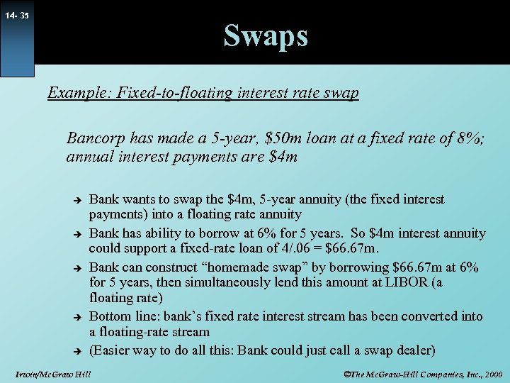 14 - 35 Swaps Example: Fixed-to-floating interest rate swap Bancorp has made a 5