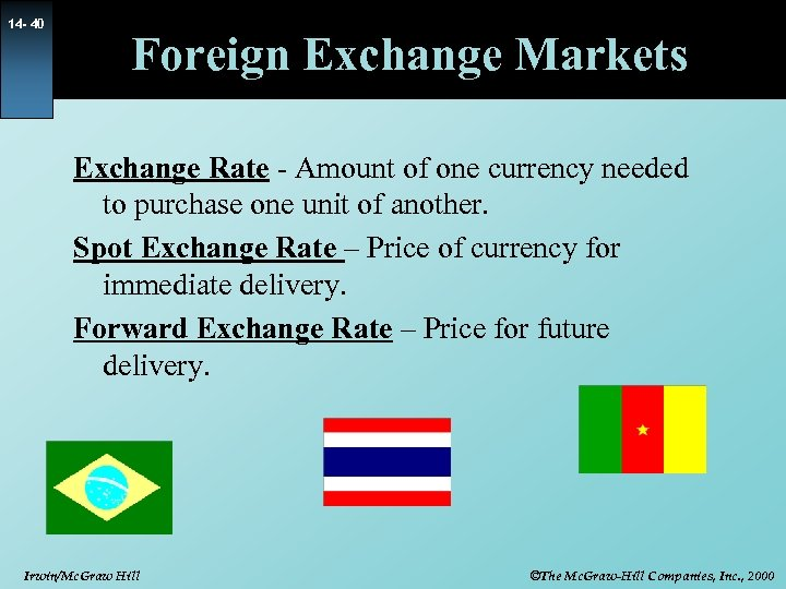 14 - 40 Foreign Exchange Markets Exchange Rate - Amount of one currency needed