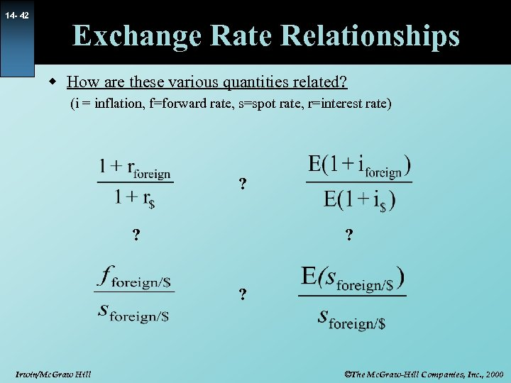 14 - 42 Exchange Rate Relationships w How are these various quantities related? (i