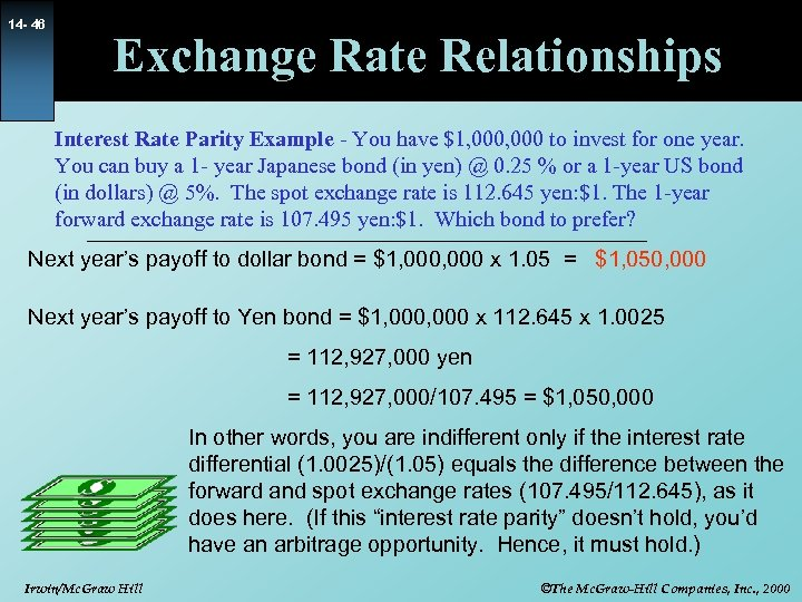 14 - 46 Exchange Rate Relationships Interest Rate Parity Example - You have $1,