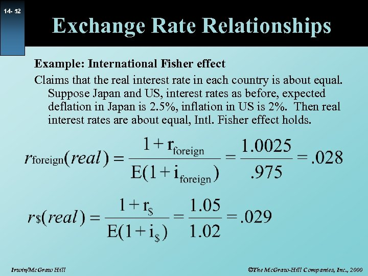 14 - 52 Exchange Rate Relationships Example: International Fisher effect Claims that the real