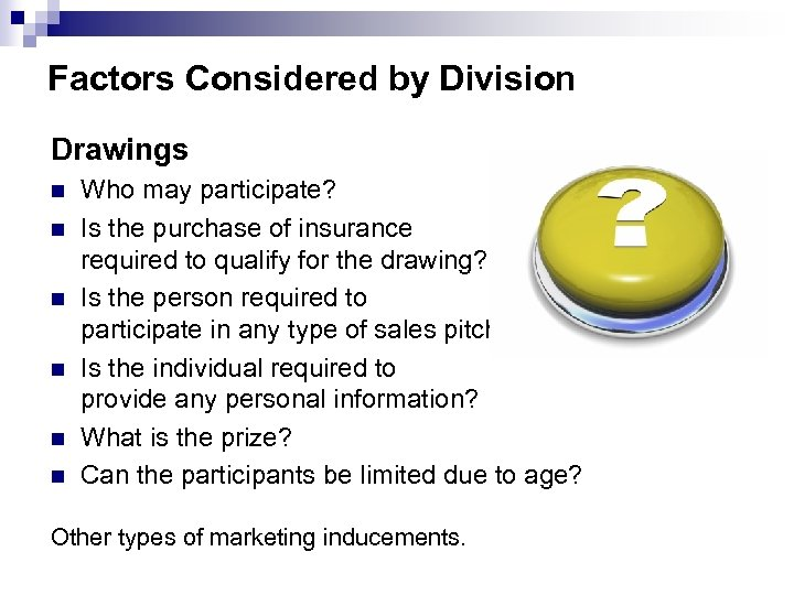 Factors Considered by Division Drawings n n n Who may participate? Is the purchase