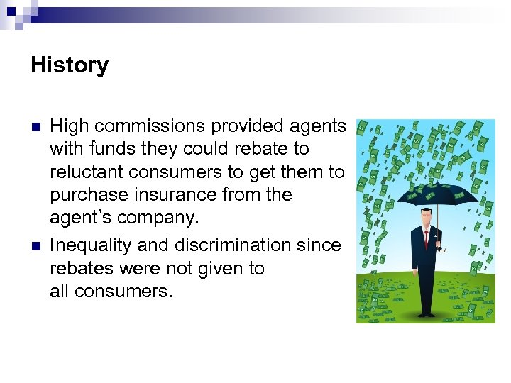 History n n High commissions provided agents with funds they could rebate to reluctant