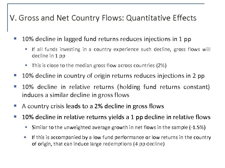 V. Gross and Net Country Flows: Quantitative Effects § 10% decline in lagged fund