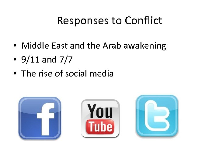 Responses to Conflict • Middle East and the Arab awakening • 9/11 and 7/7