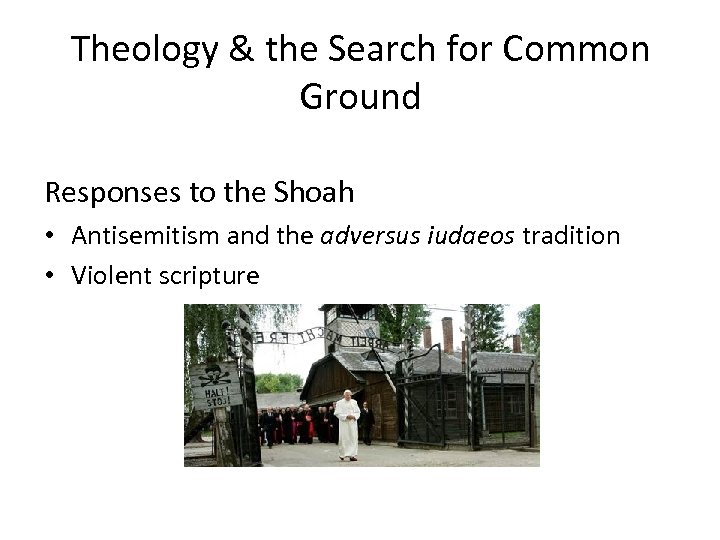 Theology & the Search for Common Ground Responses to the Shoah • Antisemitism and