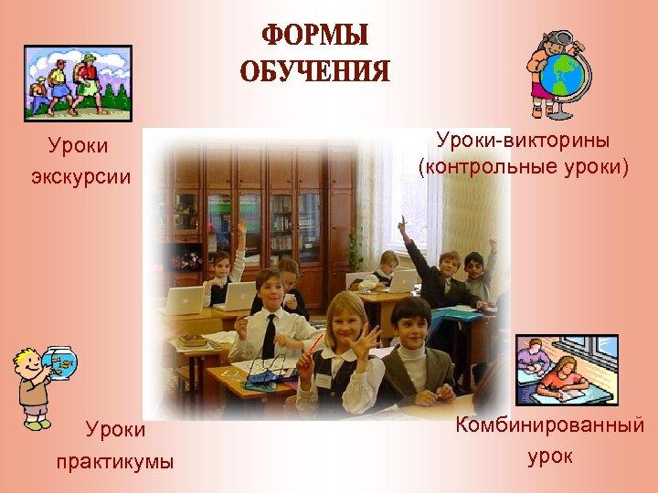 Уроки экскурсии Уроки практикумы Уроки-викторины (контрольные уроки) Комбинированный урок