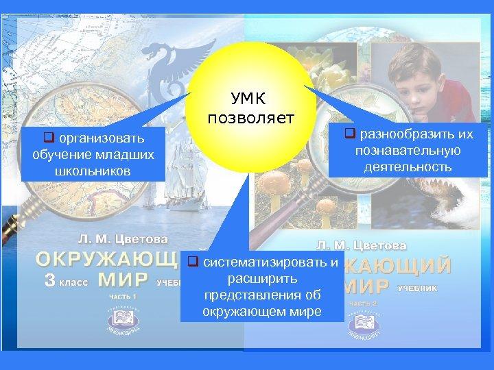 УМК позволяет q организовать обучение младших школьников q систематизировать и расширить представления об окружающем