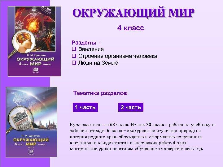 4 класс Разделы : q Введение q Строение организма человека q Люди на Земле