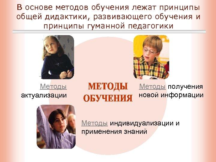 В основе методов обучения лежат принципы общей дидактики, развивающего обучения и принципы гуманной педагогики