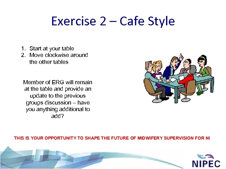 Exercise 2 – Cafe Style 1. Start at your table 2. Move clockwise around